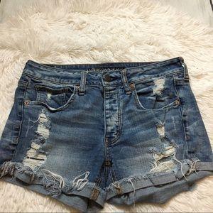 American Eagle Blue Distressed Tom Girl Shorts